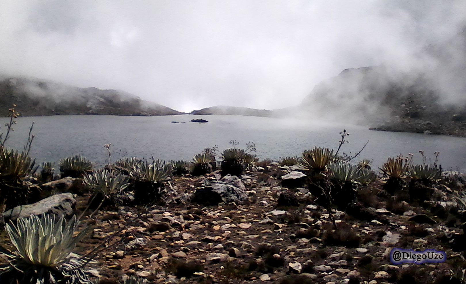 Laguna Albarregas entre neblina